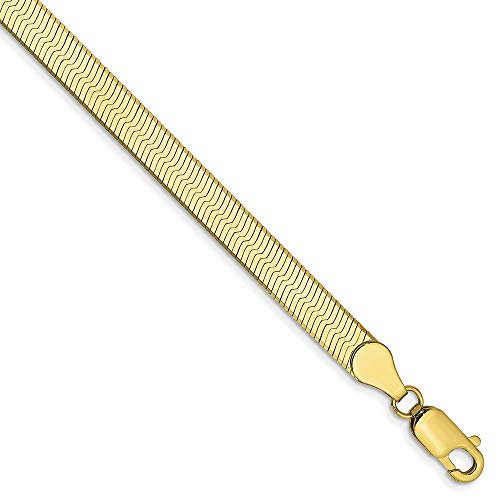Solid 10k Yellow Gold 5.0mm Silky Herringbone Chain Bracelet 8
