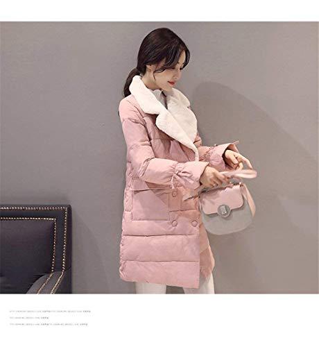 Giaccone Invernali Lunga Coat Tasche Cappotti Rosa Double Piumini Breasted Donna Screenes Bavero Bendare Anteriori Manica Confortevole Caldo OxABEfqwW7