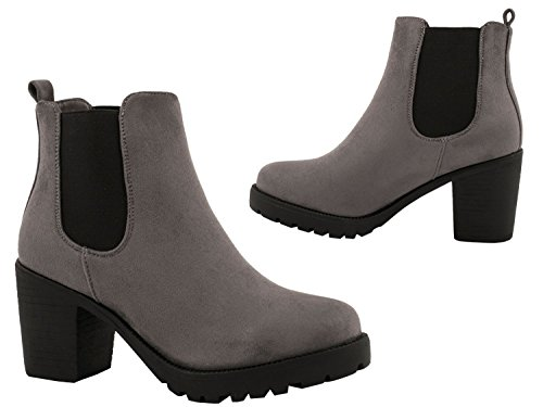 Elara Damen Chelsea Stiefel | Bequeme Stiefelette Profilsohle | Plateau Chelsea Boots | Gefüttert Grau Queen