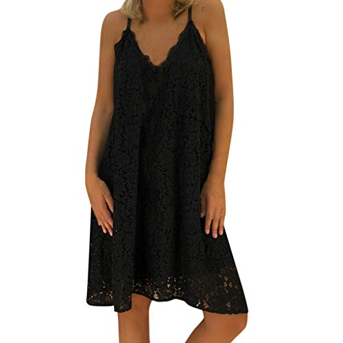 Women Dresses for Party V Neck Basic Solid Spaghetti Strap Summer Casual Loose Lace Mini Dress Plus Size Pink]()