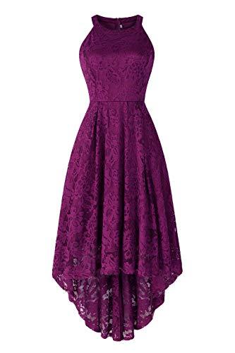 Sepfier Women's Halter Hi-lo Lace Floral Bridesmaid Cocktail Party Swing Dress Dark Purple,S