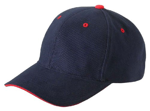 Yupoong Sandwich Cap w/Velcro - NAVY/RED - One Size