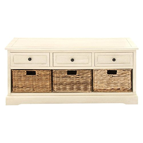 Three-Drawer Chest with Pull-out Wicker Baskets, with Beveled Edges Featuring Matching 3 Drawers and Taupe Sea Grass, Bundle with Ebook for Home Furnitures
