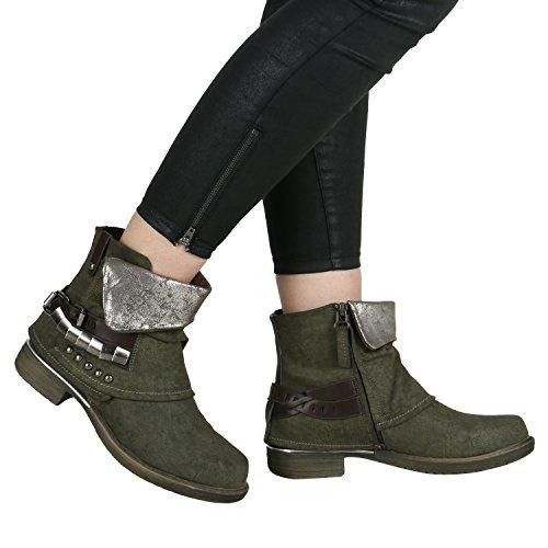Stiefelparadies Damen Stiefeletten Biker Boots Schnallen Nieten Knöchelhohe Stiefel Leder-Optik Flandell Dunkelgrün Braun