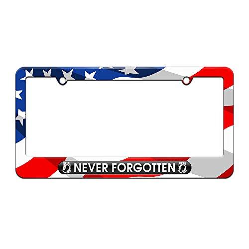 Never Forgotten POW MIA - Military Vet Veteran - License Plate Tag Frame - American Flag Design