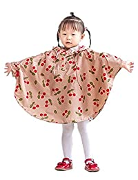 2SUN Kids' Lightweight Outdoor Waterproof Packable Poncho Cheeries Raincoat with Hood