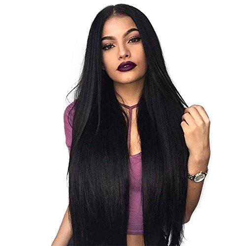 ENTRANCED STYLES Synthetic Stylish and Straight Long Layered Wig Natural Black Wig with Middle Part Heat Resistant Fiber None Lace Wig -