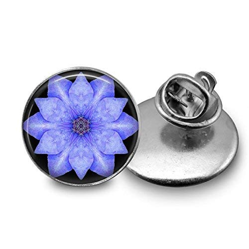 Blue Clematis Mandala Tie Tack Handmade Stainless Steel Jewelry 18mm