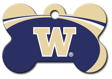 dogIDS Personalized Laser Engraved 1.5 x 1 Inch Washington Huskies Bone Shaped Pet ID Tag - Free Tag Silencer