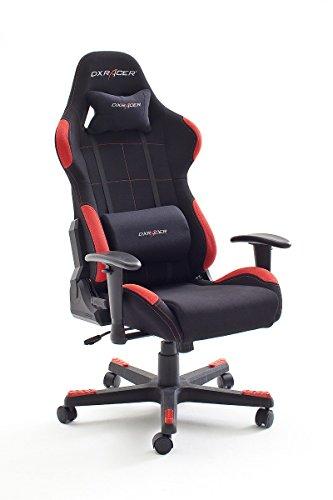 DX Racer1, Bürostuhl, Gaming Stuhl, Schreibtischstuhl, Chefsessel mit Armlehnen, Gaming chair, Gestell Nylon, 78 x 124-134 x 52 cm, Stoffbezug schwarz / rot