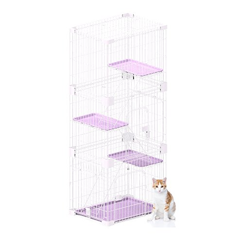 PetPals Wirehouse-Three Levels Pink Cat Cage, One - Pals Three Level Pet