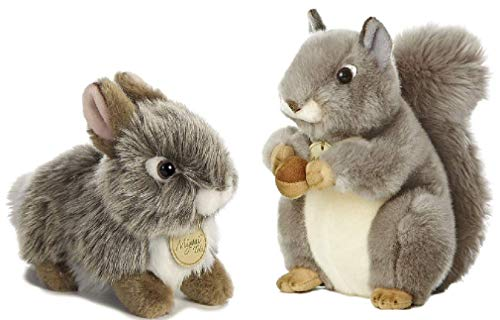 Aurora Miyoni Plush Backyard Buddies Woodland Animal Bundle, Gray Squirrel Gray Baby Bunny