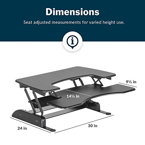 VariDesk Pro Plus 36 by Vari - Height Adjustable Standing Desk Converter - Stand Up Desk Converter for Dual Monitors - (Black)