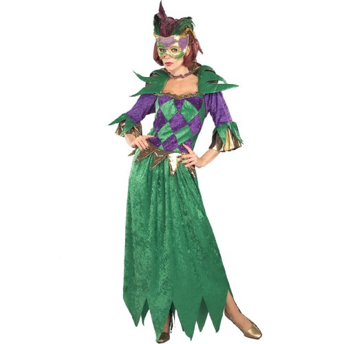 Costumes Mardi Women For Gras (Forum Mardi Gras Madness Gown, Green/Gold/Purple, Adult)