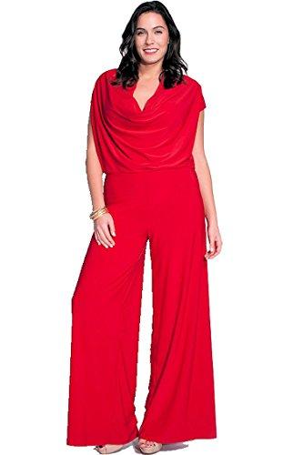 Amazon.com: Nyteez Women's Plus Size Cowl Neck Wide Leg Jumpsuit ...