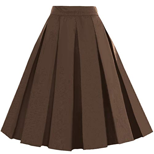 - Dressever Women's Vintage A-line Printed Pleated Flared Midi Skirts Brown XX-Large