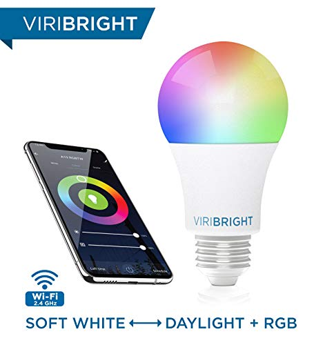 Viribright Smart LED Light Bulb, E26 RGBW WiFi Dimmable Multicolor LED Lights, 2700K to 5000K + RGBW, A19 60W Equivalent… 1