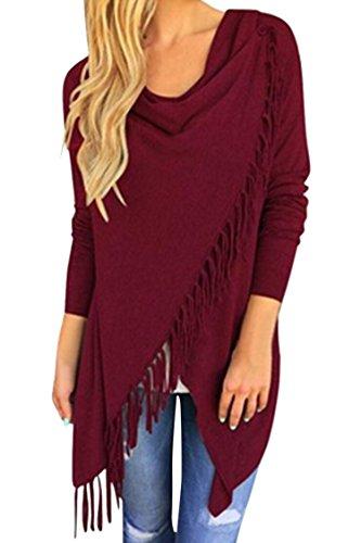 Red Boatneck Sweater - Pink Queen Women's Tassel Hem Open Front Cardigan Sweater Coat Wine Red M