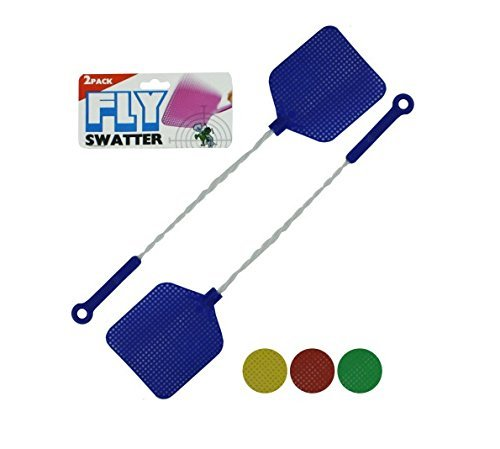 bulk buys Fly Swatter with Wire Handles 2 Pack, Assorted Colors