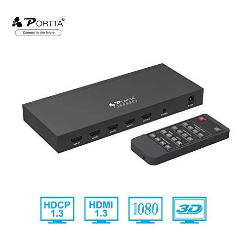 Portta HDMI 4X1 Quad Multi-Viewer Switch with IR Remote Stereo Coaxial Toslink and Service 5 Modes Seamless Switcher Support HDCP1.3 1080p Scaler up/down USB upgrade 4 in 1 out