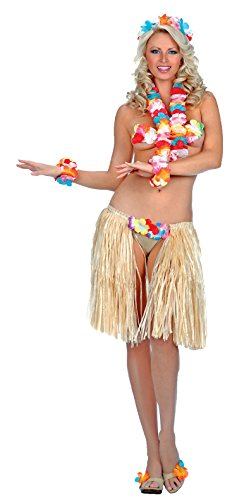 [ToBeInStyle Women's Sexy Hawaiian Outfit (One Size Regular, Multicolored)] (Hawaiian Hula Outfits)