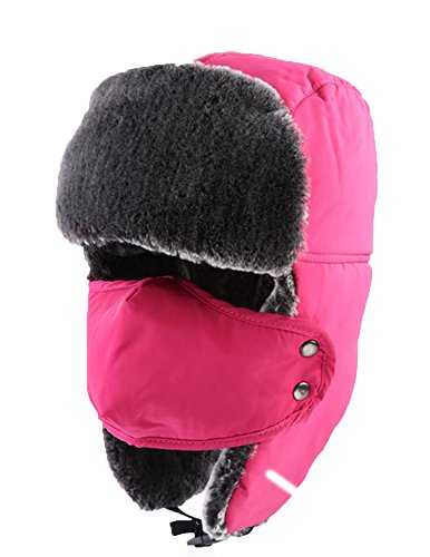 Super Troopers Hunter Costume (Trapper Hat Ear Flap Cap with Breathable Mask Warm Ushanka Snow Cap Winter Hat Men Women Pink)