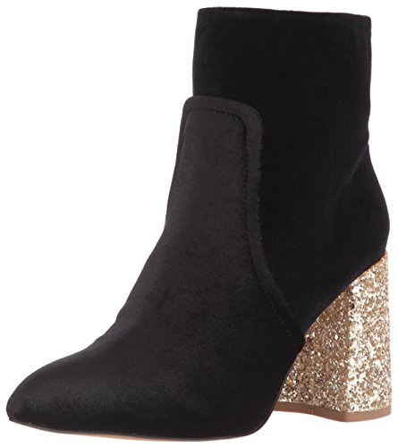 Betsey Johnson Womens Almond (Blue by Betsey Johnson Women's Kacey Ankle Bootie, Black Velvet, 5.5 M US)