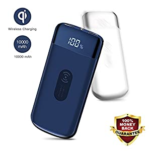 Qi Wireless Portable Charger, Joyroom 10000mAh External Battery pack Wireless Power Bank Fast Charging with LED Digital Display for iPhone X, iPhone 8, 8 Plus, Samsung S9,S9 Plus, S8, S8 Plus (BLUE)