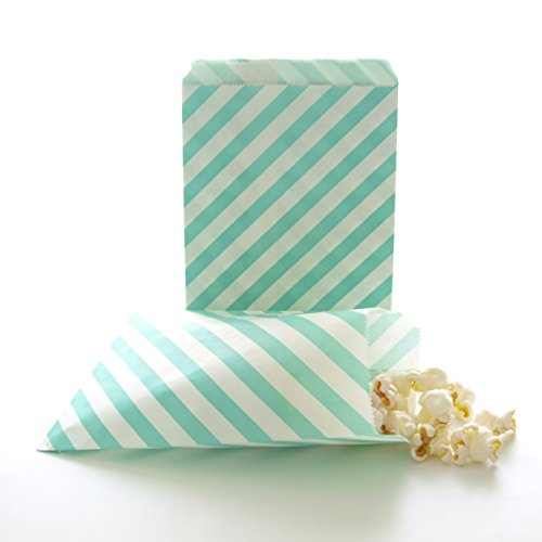 Birthday Party Favor Bags, Goody Bag, Loot Sacks, Candy Bags, Teal Green Stripe Bags (25 Pack)