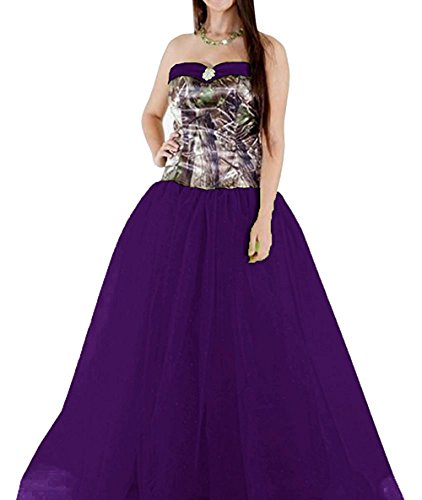 PrettyWish Women's Camouflage Tulle Modest Wedding Party Dress Prom Gown Purple us8