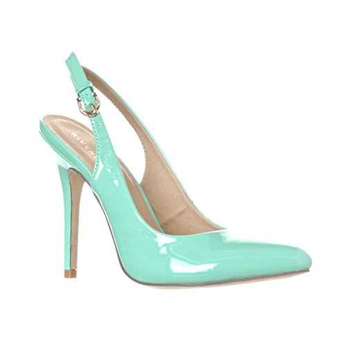 Riverberry Women's Lucy Pointed-Toe Sling Back Pump Stiletto Heels, Mint Patent, 9