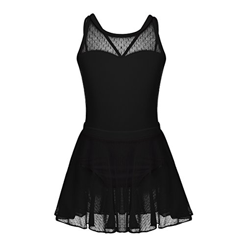Freebily Girls Activewear Dance Dress Spaghetti Straps Ballet Dance Gymnastics Leotard with Mesh Tied Skirt Outfit Sets Black(Criss-Cross Back) 10-12