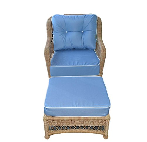 Sunbrella Canvas Air Blue w/ White Pipping / Cording Cushion Set for Patio Outdoor Deep Seating Furniture Chair - SEAT CUSHION - 24