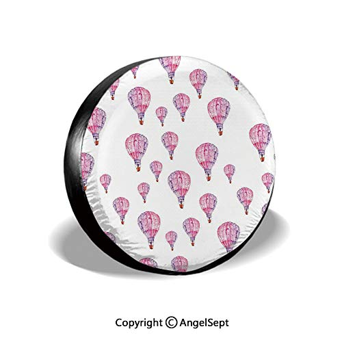 Spare Tire Cover,Vintage Flying Hot Air Balloons Motif Nostalgic Lovers Goodbye Artful Print,Pink Lavender,for Jeep Trailer RV SUV Truck Camper Travel Trailer Accessories,14 Inch