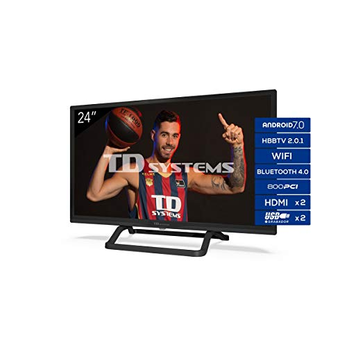 TD Systems K24Dlx11Hs – Televisor 24″, Android 7.0 y Hbbtv, 800 Pci Hz, 2X Hdmi, 2X Usb. Dvb-T2/C/S2, Modo Hotel, Negro