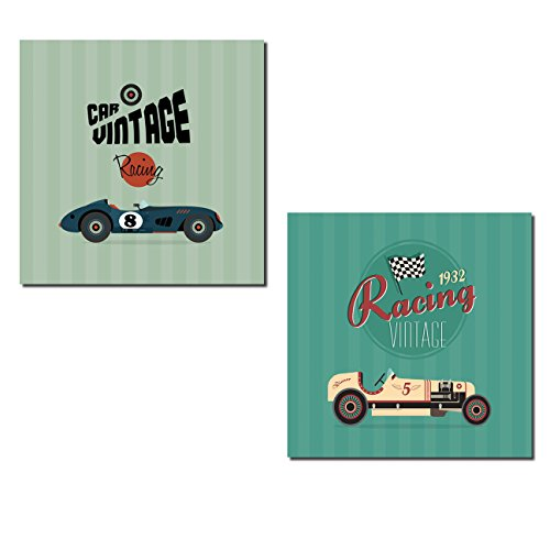 Gango Home Décor Popular Vintage Green and Teal Race Car Poster Set; Two 12x12in Poster Prints ()