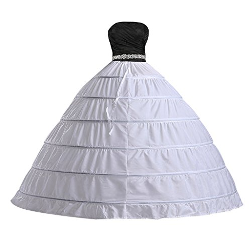 Edith qi Women's Six Hoops Petticoat Crinoline half Slip Bridal Wedding Accessories