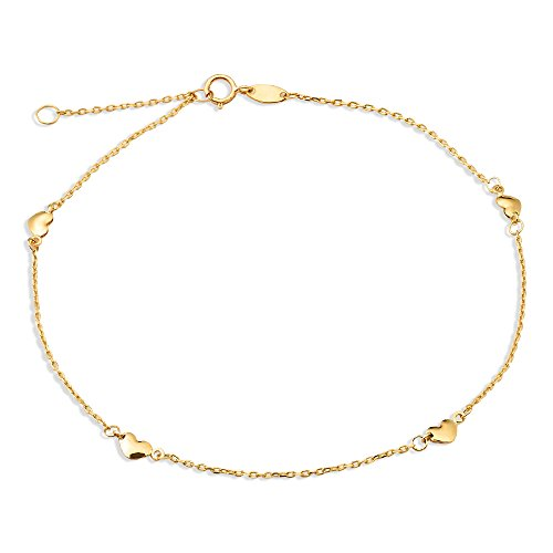 - LOVEBLING 10K Yellow Gold .50mm Diamond Cut Rolo Chain with 4 Heart Pendants Anklet Adjustable 9