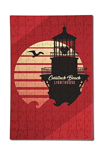 Corolla, North Carolina - Currituck Beach Lighthouse - Vector Lighthouse and Sun 96243 (12x18 Premium Acrylic Puzzle, 130 Pieces)