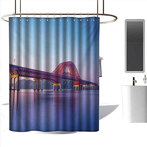 coolteey Shower Curtains Liner for Bathroom Landscape,Banghwa Bridge and Han River Seoul Korea Contemporary Architecture Picture,Blue Red Purple,W72 x L84,Shower Curtain for Shower stall