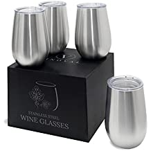 Double Walled Insulated Handmade Stainless Steel Stemless Wineglasses | Unbreakable Shatterproof Dishwasher Safe Premium Steel | 18/8 Steel | Set of 4 | 12Oz | Non Sweat