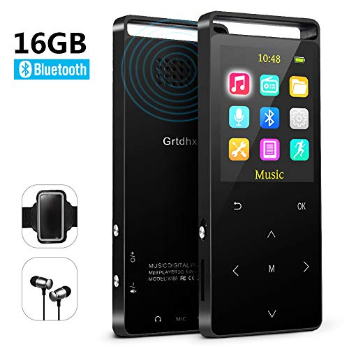 MP3 Player with Bluetooth ,16GB Music player with FM Radio/ Voice Recorder,HIFI Lossless Sound Quality ,Metal, Alarm Clock, Touch button, HD Sound Quality Earphone , 2018 newest model, with an Armband
