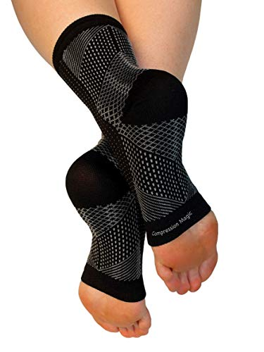 Compression Magic (1 Pair Foot Sleeves - Sock Supports That Relieve Pain and Swelling in Feet and Ankles for Men and Women - Black Large (Swelling In Feet And Ankles And Hands)