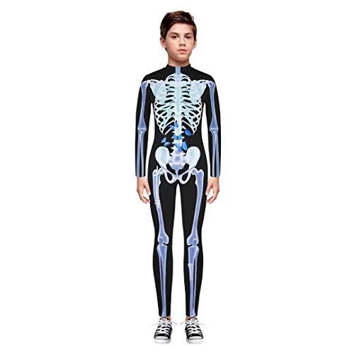 Tsyllyp Girls Boys Unisex Halloween Skeleton 3D Print Vampire Costume Bone Skull Skinny Catsuit Jumpsuit