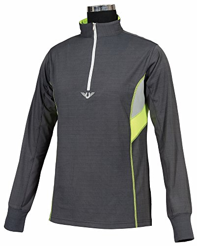 Womens Technical Mock Shirt - TuffRider Women's Neon Ventilated Mock Zip Long Sleeve Sport Shirt | Women Horse Riding Polo Shirt - Charcoal/NeonYellow - Size XX-Large