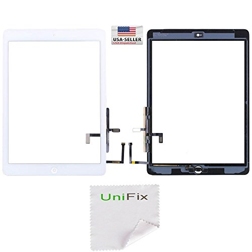 Unifix White Touch Screen Glass Digitizer For iPad Air 5th Generation Gen with Pre-installed Adhesive & Home Button