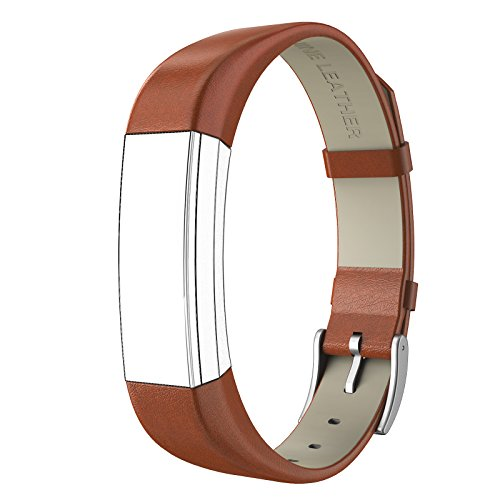 [Fitbit Alta HR and Alta Bands Leather, Swees Genuine Leather Band With Buckle Replacement Wristband Small & Large for Fitbit Alta HR and Alta, Brown] (Small Buckle)