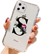 CrazyLemon Clear Case for iPhone XR, Transparent Cute Funny Design Creative 26 Capital Letters with Beautiful Flower Pattern Ultra Thin Anti Yellow Soft TPU Silicone Shockproof Bumper Back Cover - S