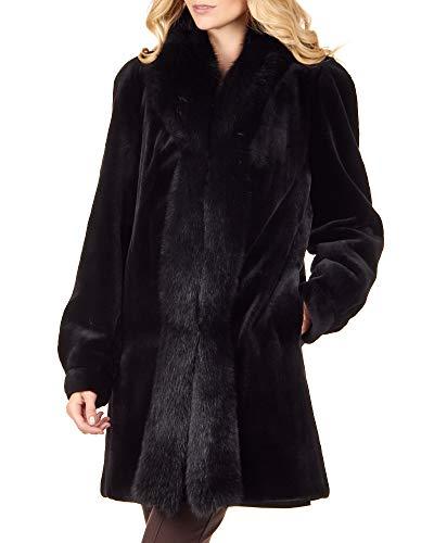 (Reversible Sheared Mink Fur Coat with Fox Trim in Black - X-Large)