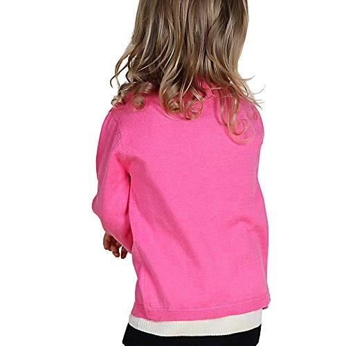 Dutebare Girls Crewneck Sweater Long Sleeve Toddler Button Uniform Cardigan Sweater